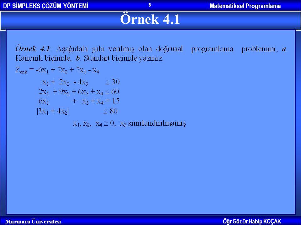 Matematiksel ProgramlamaDP SİMPLEKS ÇÖZÜM YÖNTEMİ Öğr.Gör.Dr.Habip KOÇAK Marmara Üniversitesi 8 Örnek 4.1