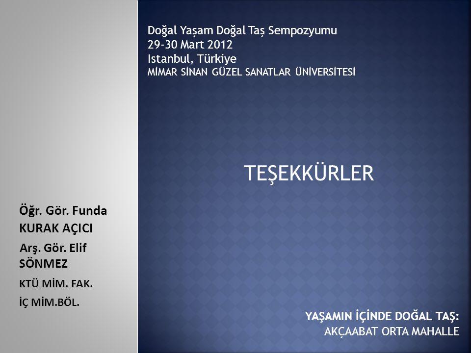 TEŞEKKÜRLER Doğal Yaşam Doğal Taş Sempozyumu 29-30 Mart 2012 Istanbul, Türkiye MİMAR SİNAN GÜZEL SANATLAR ÜNİVERSİTESİ Öğr. Gör. Funda KURAK AÇICI Arş