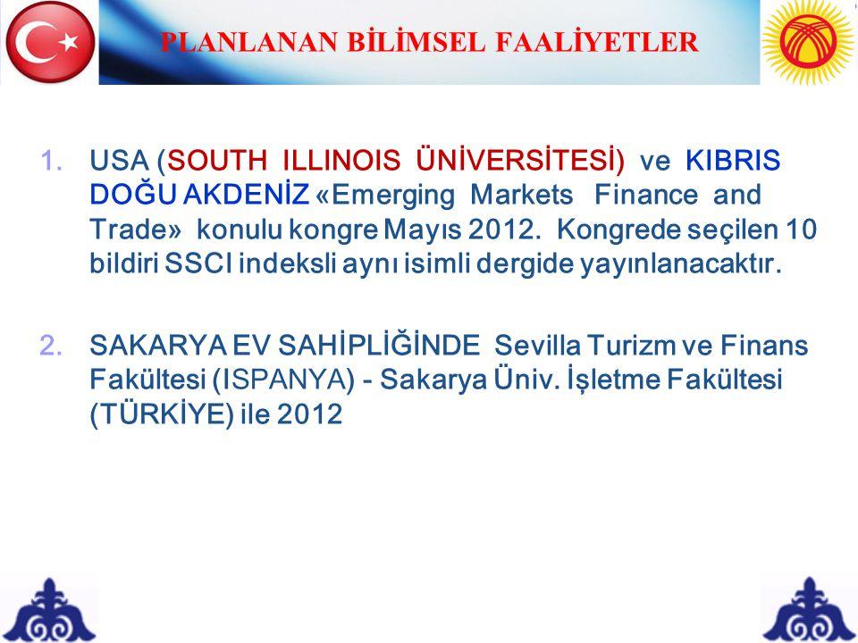 PLANLANAN BİLİMSEL FAALİYETLER 1.
