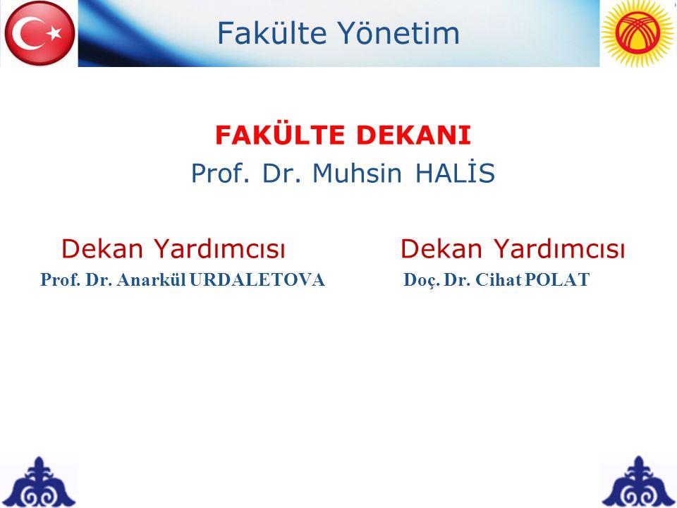 Fakülte Yönetim FAKÜLTE DEKANI Prof. Dr. Muhsin HALİS Dekan Yardımcısı Prof. Dr. Anarkül URDALETOVA Doç. Dr. Cihat POLAT