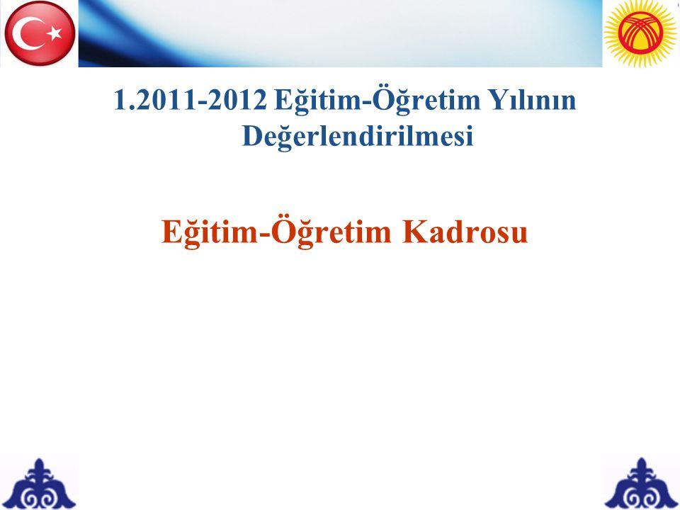 1.2011-2012 Eğitim-Öğretim Yılının Değerlendirilmesi Eğitim-Öğretim Kadrosu