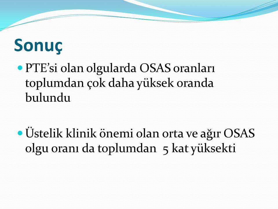 Sonuç PTE'si olan olgularda OSAS oranları toplumdan çok daha yüksek oranda bulundu Üstelik klinik önemi olan orta ve ağır OSAS olgu oranı da toplumdan