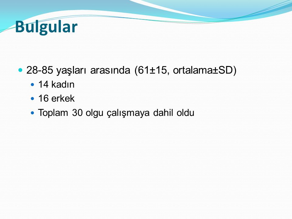 Majör PTE risk faktörü Lojistik regresyon YOK n=20 VAR n=10 P değeri B Yaş (yıl) ort (SEM)65 (2,9)52 (4,8)0,015 a 0,0250,634 Kilo (kg) ort (SEM)81,1 (3,1)87,9 (5,3)0,025 a 0,1600,056 BUN (mg/dl) ort (SEM)21,2 (1,7)14,10 (2,4)0,023 a -0,3190,070 OSAS varlığı (n)14/20 (%70)3/10 (%30)0,045 b 3,9340,049 c a Student t test; b ki kare test; c Lojistik regresyon analizi