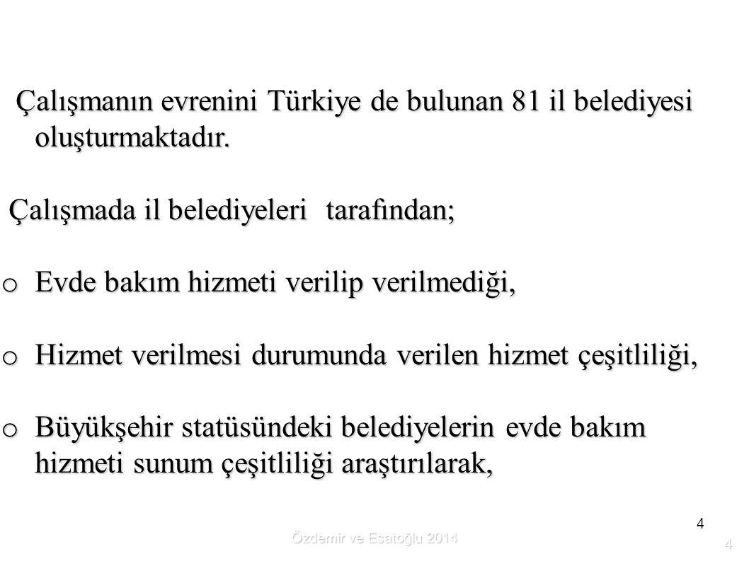 4 Çalışmanın evrenini Türkiye de bulunan 81 il belediyesi oluşturmaktadır. Çalışmanın evrenini Türkiye de bulunan 81 il belediyesi oluşturmaktadır. Ça