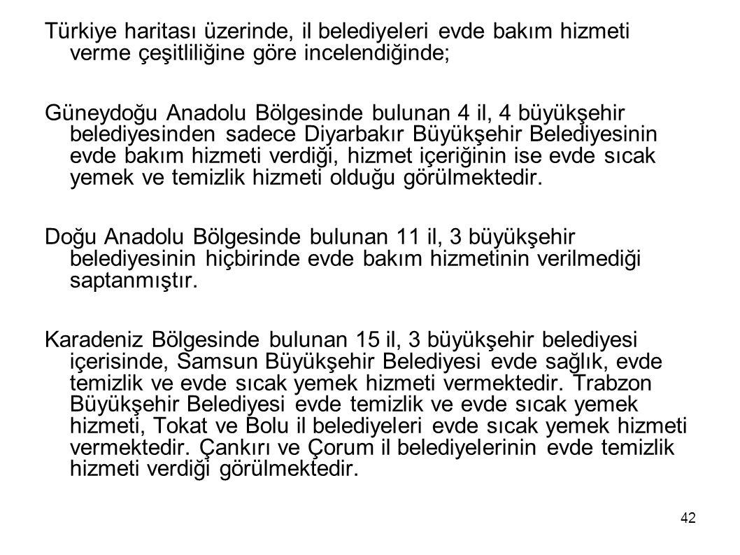 42 Türkiye haritası üzerinde, il belediyeleri evde bakım hizmeti verme çeşitliliğine göre incelendiğinde; Güneydoğu Anadolu Bölgesinde bulunan 4 il, 4