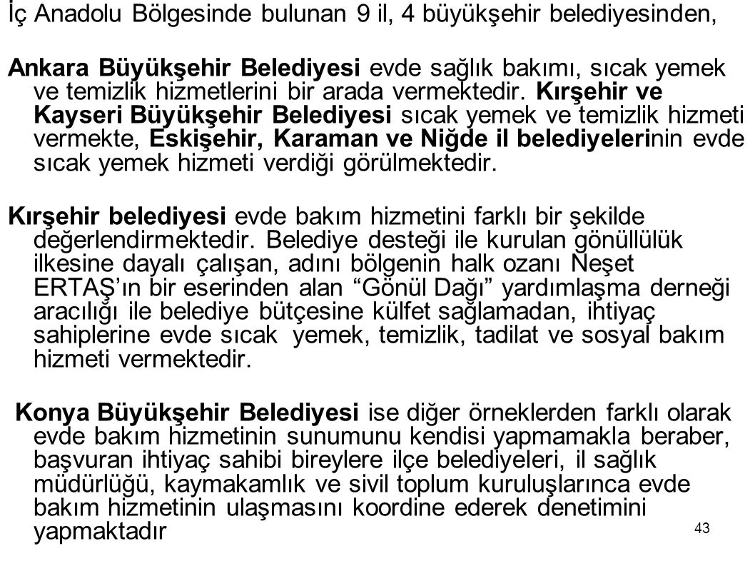 43 İç Anadolu Bölgesinde bulunan 9 il, 4 büyükşehir belediyesinden, Ankara Büyükşehir Belediyesi evde sağlık bakımı, sıcak yemek ve temizlik hizmetler