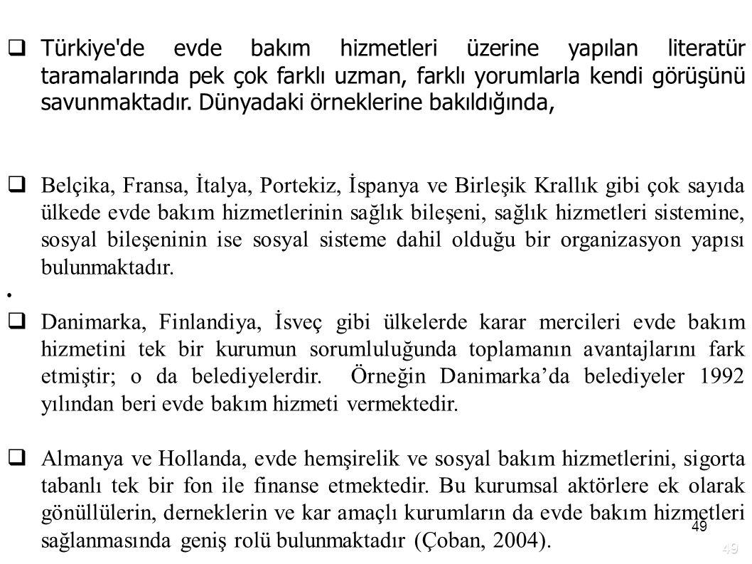 49  Türkiye'de evde bakım hizmetleri üzerine yapılan literatür taramalarında pek çok farklı uzman, farklı yorumlarla kendi görüşünü savunmaktadır. Dü