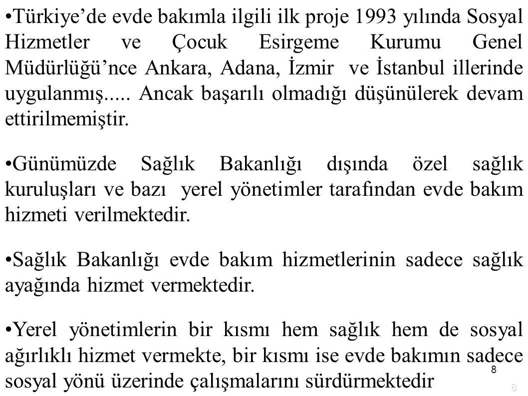 8 Türkiye'de evde bakımla ilgili ilk proje 1993 yılında Sosyal Hizmetler ve Çocuk Esirgeme Kurumu Genel Müdürlüğü'nce Ankara, Adana, İzmir ve İstanbul