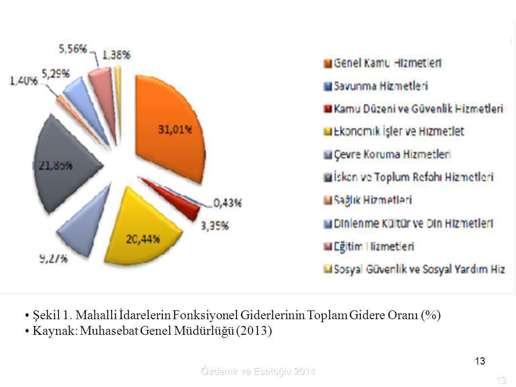 13 Şekil 1. Mahalli İdarelerin Fonksiyonel Giderlerinin Toplam Gidere Oranı (%) Kaynak: Muhasebat Genel Müdürlüğü (2013) Özdemir ve Esatoğlu 2014 13