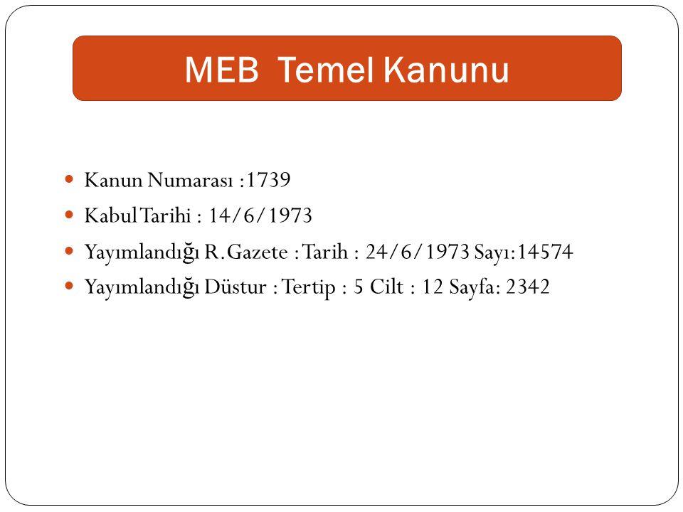 MEB Temel Kanunu Kanun Numarası :1739 Kabul Tarihi : 14/6/1973 Yayımlandı ğ ı R.Gazete : Tarih : 24/6/1973 Sayı:14574 Yayımlandı ğ ı Düstur : Tertip :