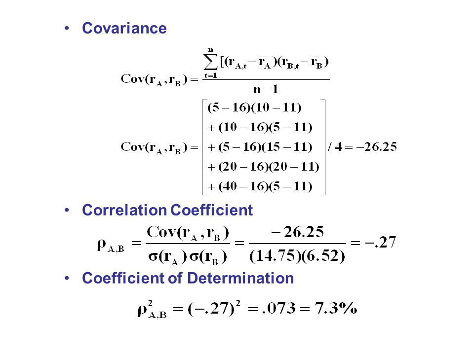 Covariance Correlation Coefficient Coefficient of Determination