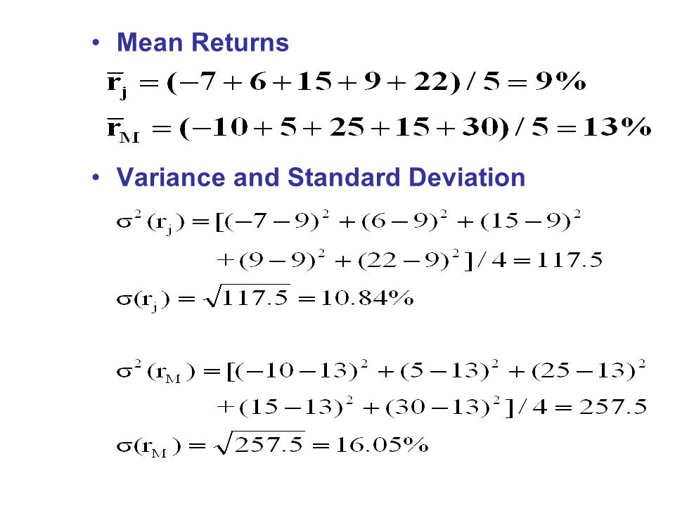 Mean Returns Variance and Standard Deviation
