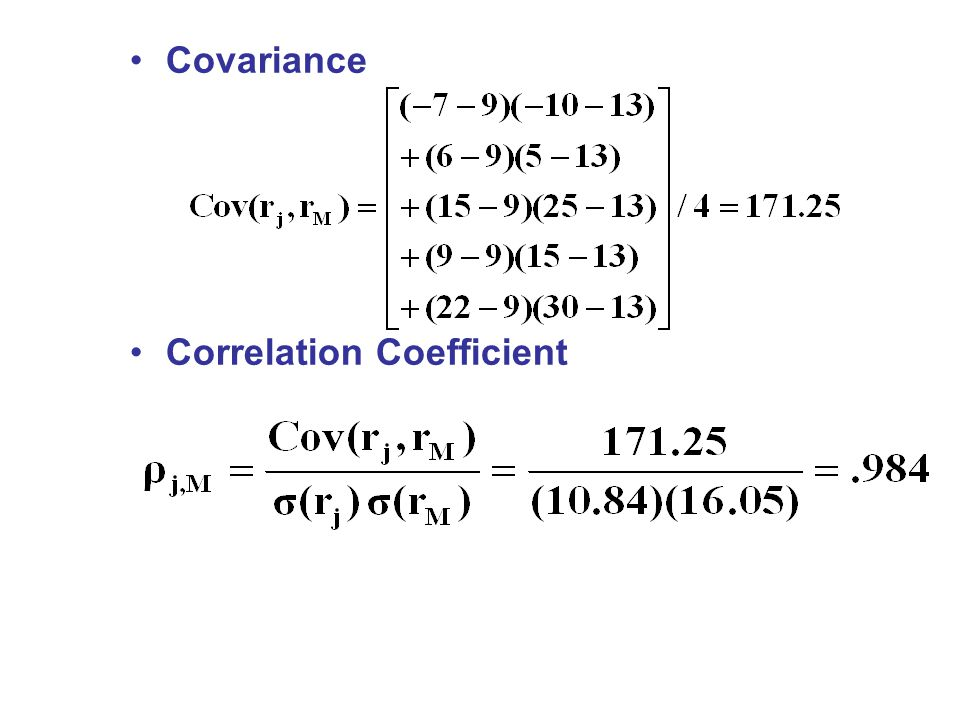 Covariance Correlation Coefficient