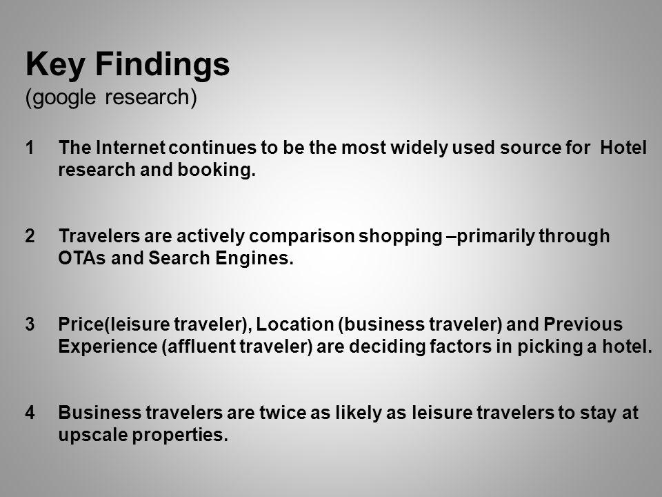 Key Findings (google research) 1The Internet continues to be the most widely used source for Hotel research and booking.