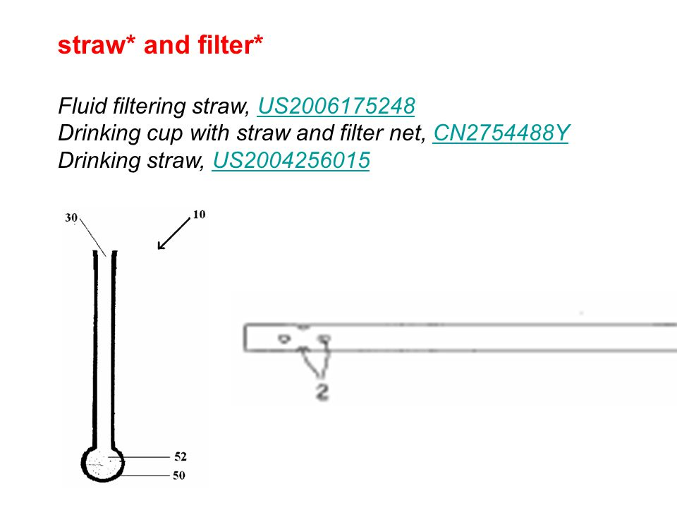 straw* and filter* Fluid filtering straw, US2006175248 Drinking cup with straw and filter net, CN2754488Y Drinking straw, US2004256015US2006175248CN2754488YUS2004256015