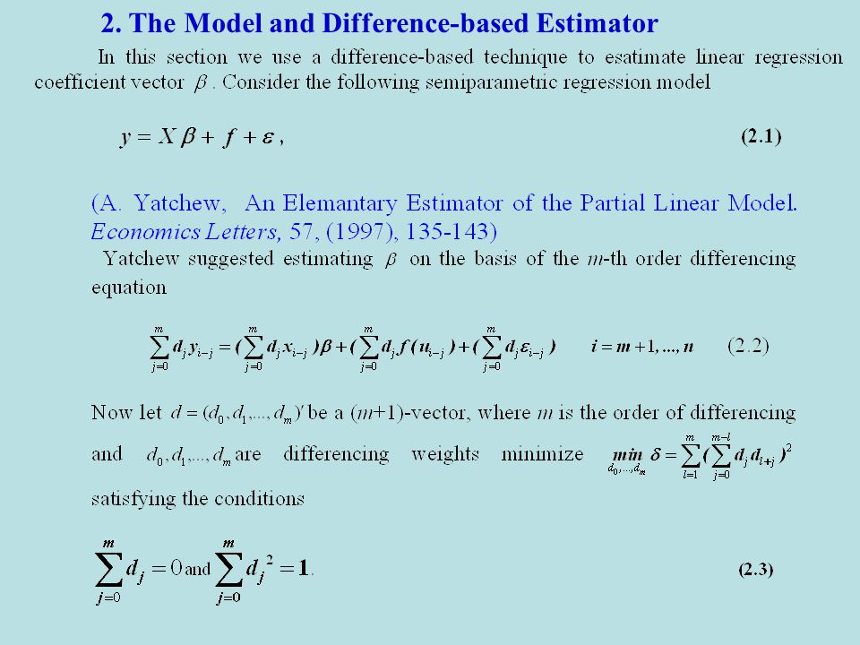 2. The Model and Difference-based Estimator