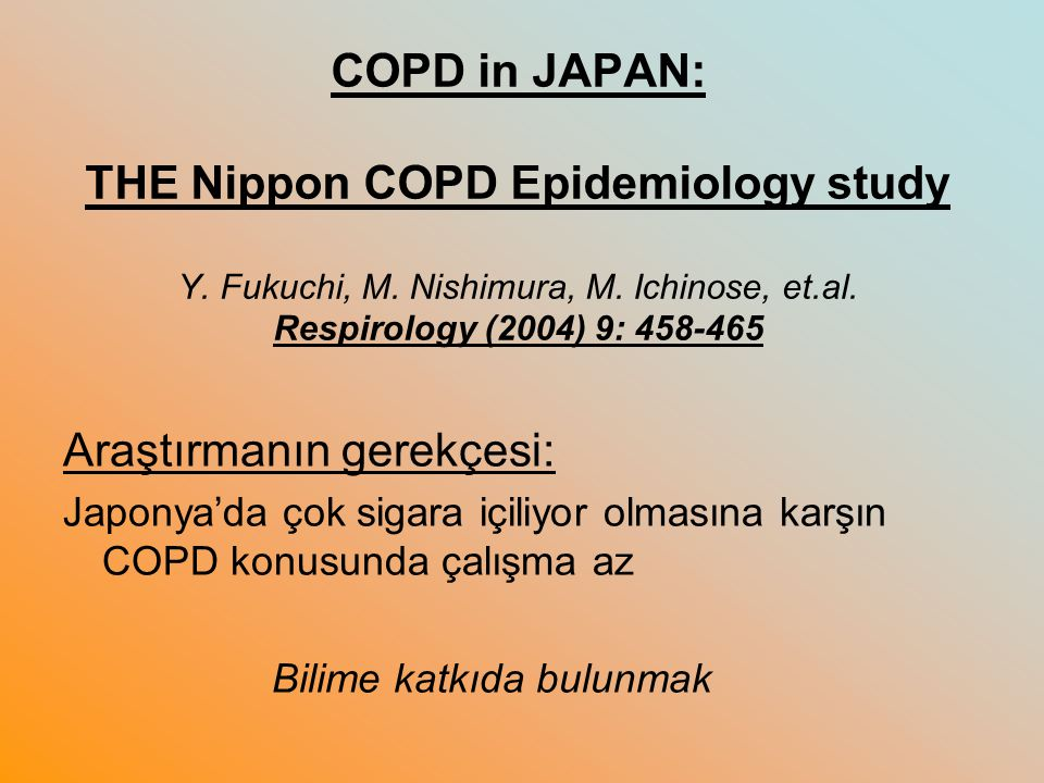COPD in JAPAN: THE Nippon COPD Epidemiology study Y.