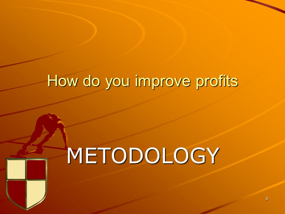 2 How do you improve profits METODOLOGY