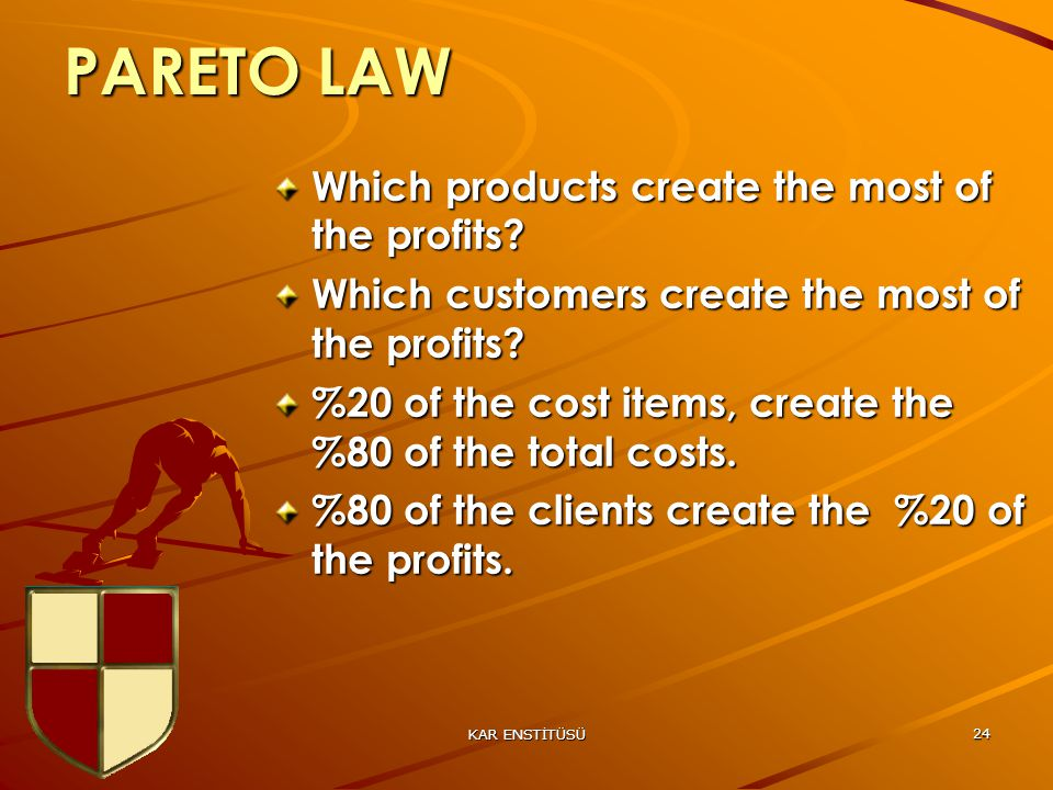 KAR ENSTİTÜSÜ 24 PARETO LAW Which products create the most of the profits.