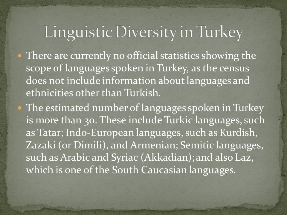 There are currently no official statistics showing the scope of languages spoken in Turkey, as the census does not include information about languages and ethnicities other than Turkish.