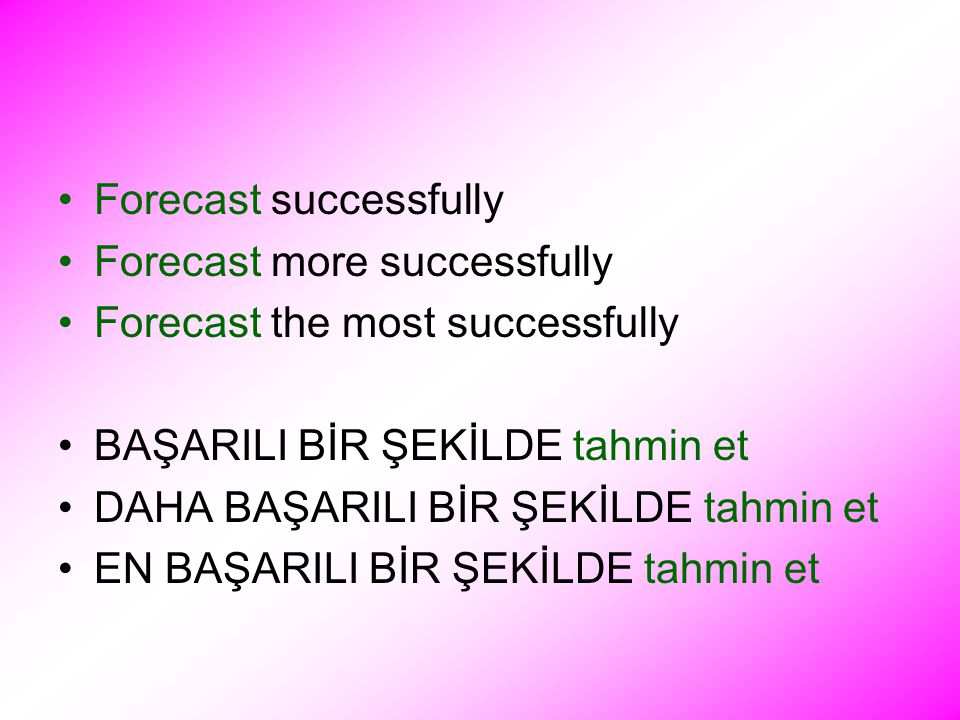 Forecast successfully Forecast more successfully Forecast the most successfully BAŞARILI BİR ŞEKİLDE tahmin et DAHA BAŞARILI BİR ŞEKİLDE tahmin et EN BAŞARILI BİR ŞEKİLDE tahmin et
