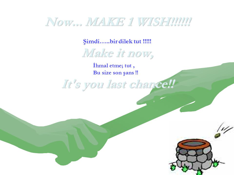 Now... MAKE 1 WISH!!!!!. Make it now, It s you last chance!.