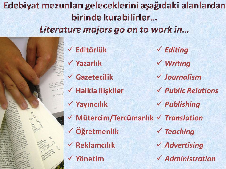  Editörlük  Yazarlık  Gazetecilik  Halkla ilişkiler  Yayıncılık  Mütercim/Tercümanlık  Öğretmenlik  Reklamcılık  Yönetim  Editing  Writing  Journalism  Public Relations  Publishing  Translation  Teaching  Advertising  Administration