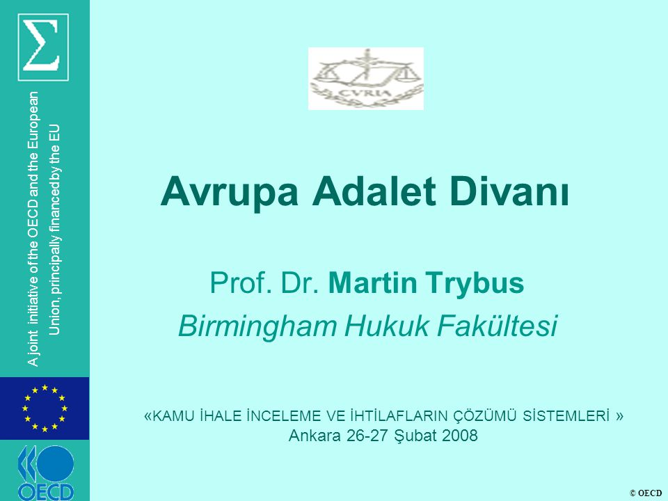 © OECD A joint initiative of the OECD and the European Union, principally financed by the EU Avrupa Adalet Divanı Prof.