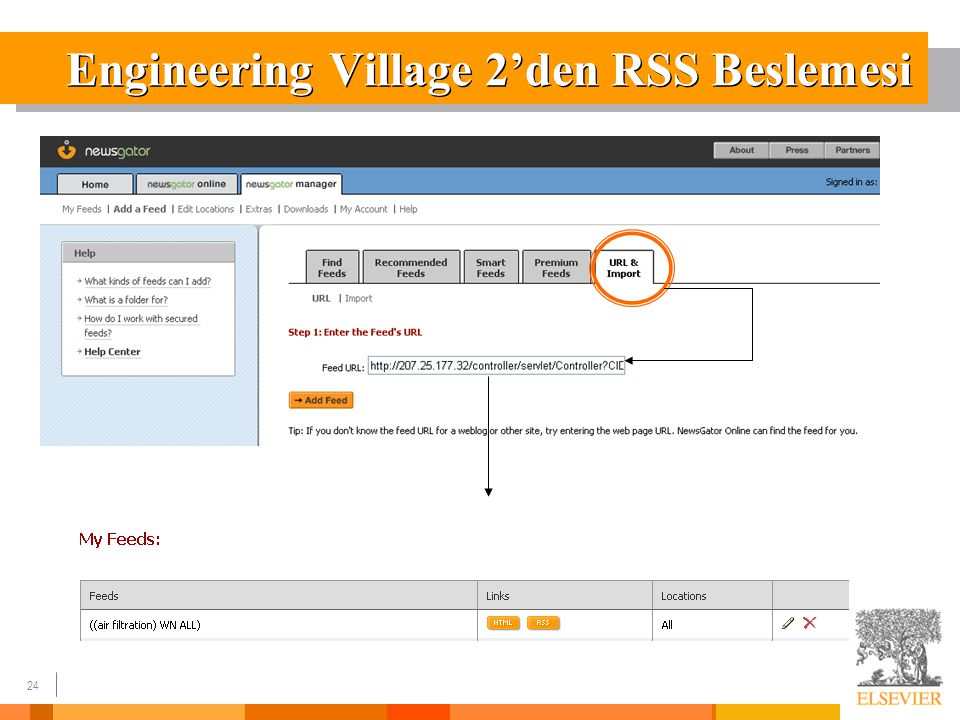 24 Engineering Village 2'den RSS Beslemesi