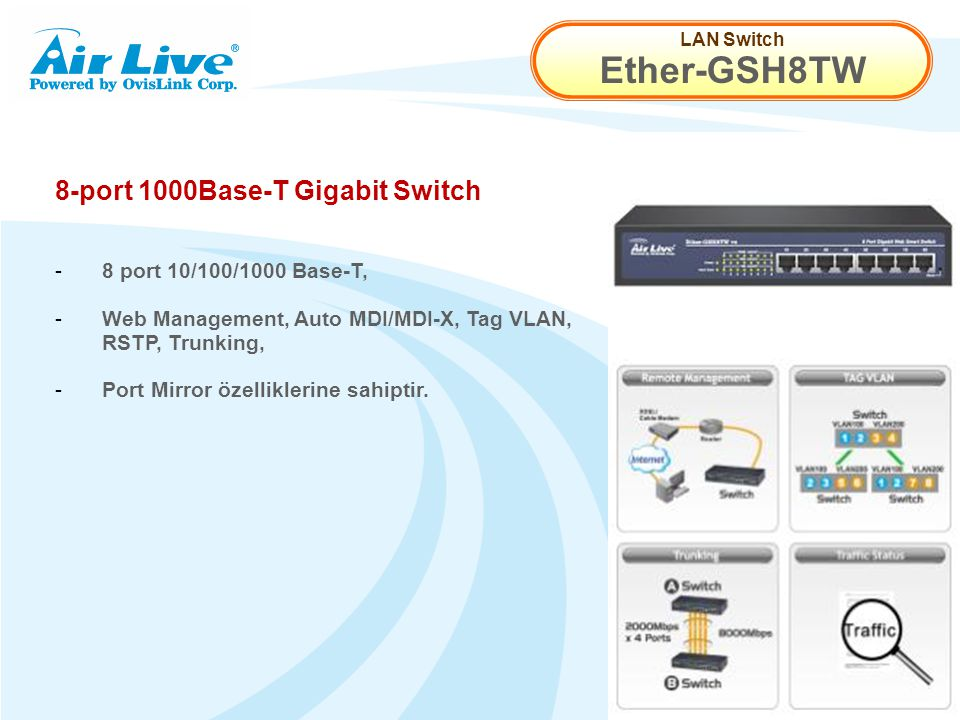 LAN Switch Ether-GSH8TW 8-port 1000Base-T Gigabit Switch - 8 port 10/100/1000 Base-T, - Web Management, Auto MDI/MDI-X, Tag VLAN, RSTP, Trunking, - Port Mirror özelliklerine sahiptir.