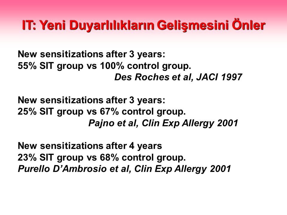 New sensitizations after 3 years: 55% SIT group vs 100% control group.