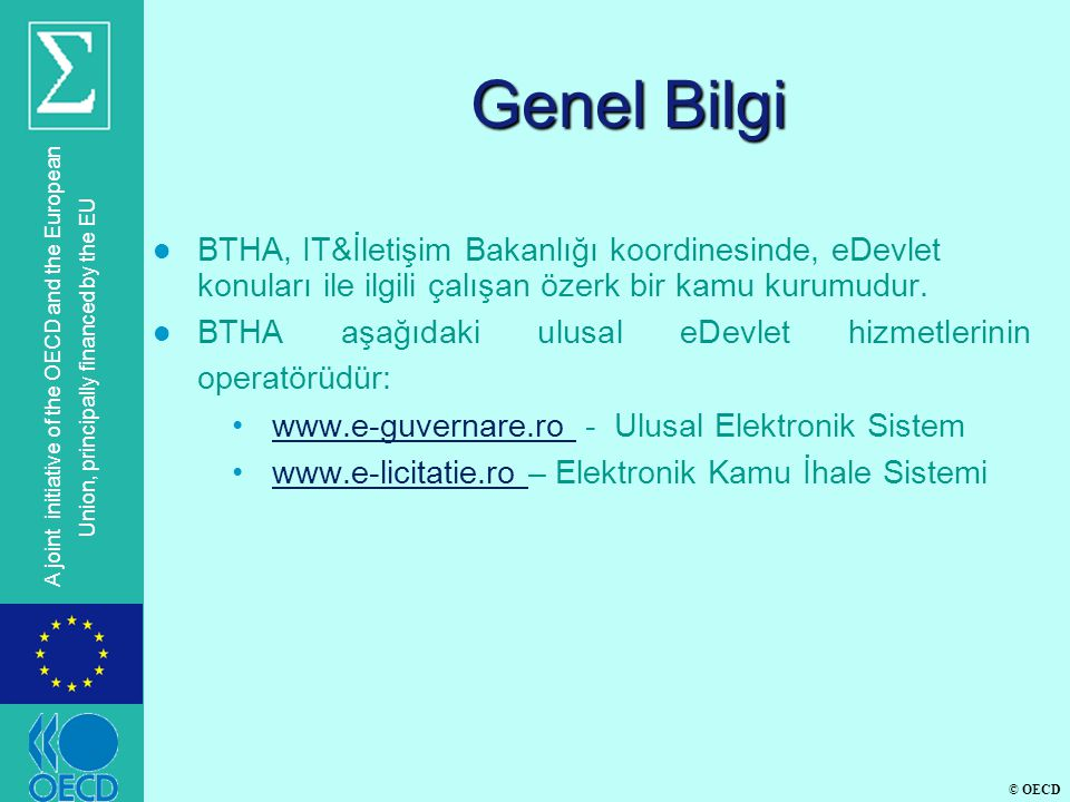 © OECD A joint initiative of the OECD and the European Union, principally financed by the EU Genel Bilgi l BTHA, IT&İletişim Bakanlığı koordinesinde, eDevlet konuları ile ilgili çalışan özerk bir kamu kurumudur.