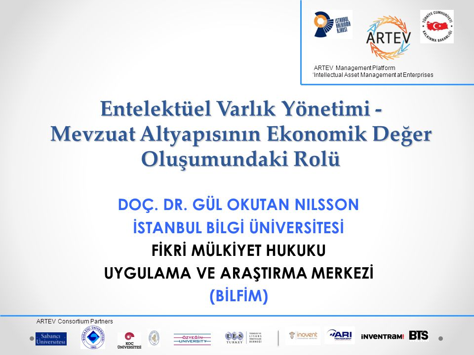 ARTEV Management Platform 'Intellectual Asset Management at Enterprises ARTEV Consortium Partners Entelektüel Varlık Yönetimi - Mevzuat Altyapısının Ekonomik Değer Oluşumundaki Rolü DOÇ.