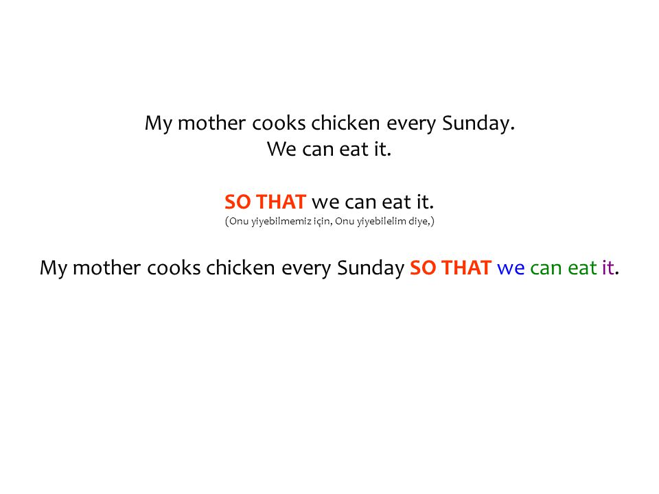 My mother cooks chicken every Sunday. We can eat it.