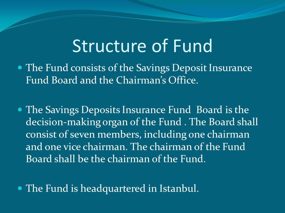 Structure of Fund  The Fund consists of the Savings Deposit Insurance Fund Board and the Chairman's Office.