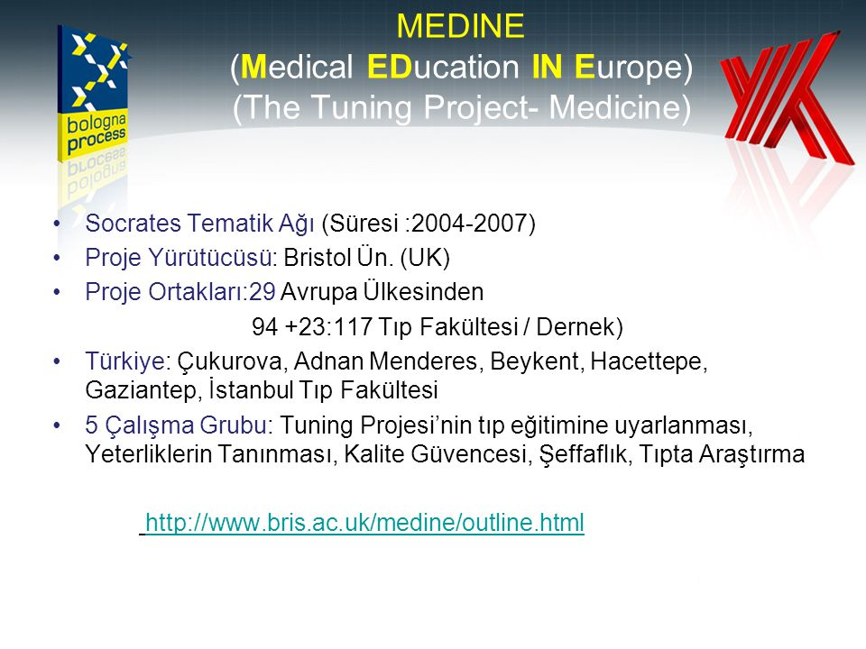 MEDINE (Medical EDucation IN Europe) (The Tuning Project- Medicine) Socrates Tematik Ağı (Süresi : ) Proje Yürütücüsü: Bristol Ün.