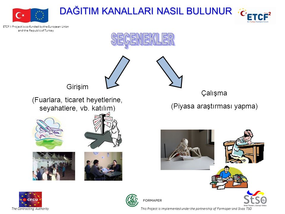 ETCF II Project is co-funded by the European Union and the Republic of Turkey The Contracting Authority This Project is implemented under the partnership of Formaper and Sivas TSO DAĞITIM KANALLARI NASIL BULUNUR Girişim (Fuarlara, ticaret heyetlerine, seyahatlere, vb.