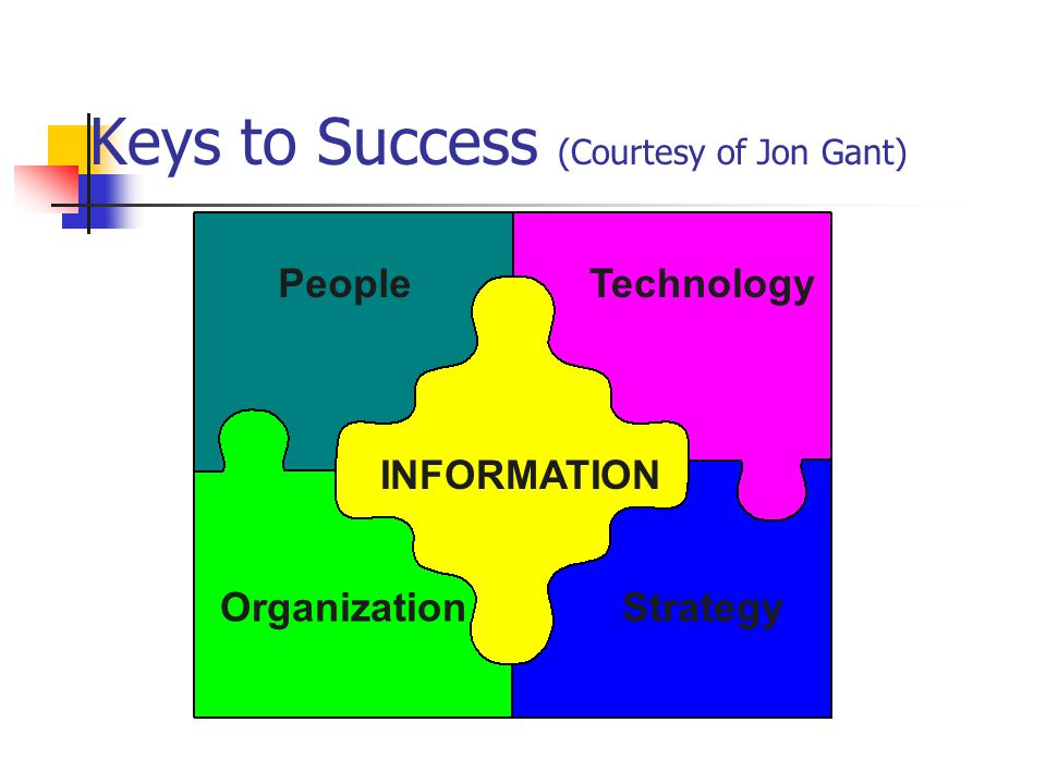 Keys to Success (Courtesy of Jon Gant) INFORMATION People OrganizationStrategy Technology