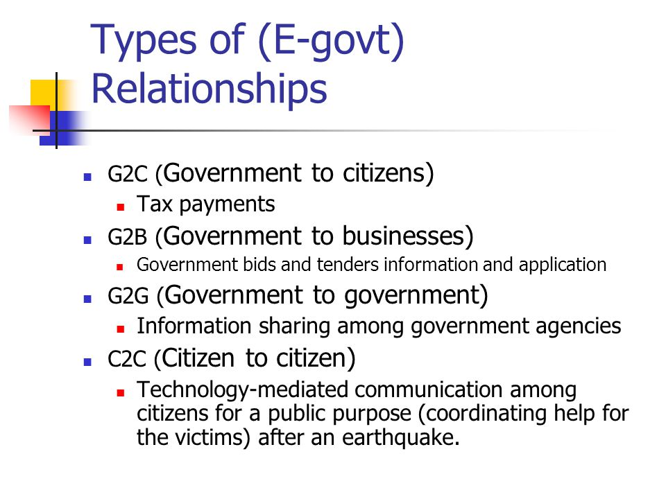Types of (E-govt) Relationships G2C ( Government to citizens) Tax payments G2B ( Government to businesses) Government bids and tenders information and application G2G ( Government to government) Information sharing among government agencies C2C ( Citizen to citizen) Technology-mediated communication among citizens for a public purpose (coordinating help for the victims) after an earthquake.