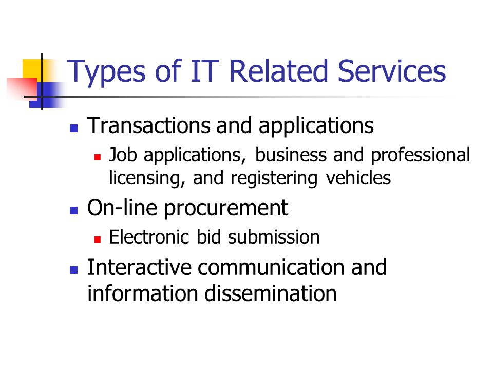 Types of IT Related Services Transactions and applications Job applications, business and professional licensing, and registering vehicles On-line procurement Electronic bid submission Interactive communication and information dissemination