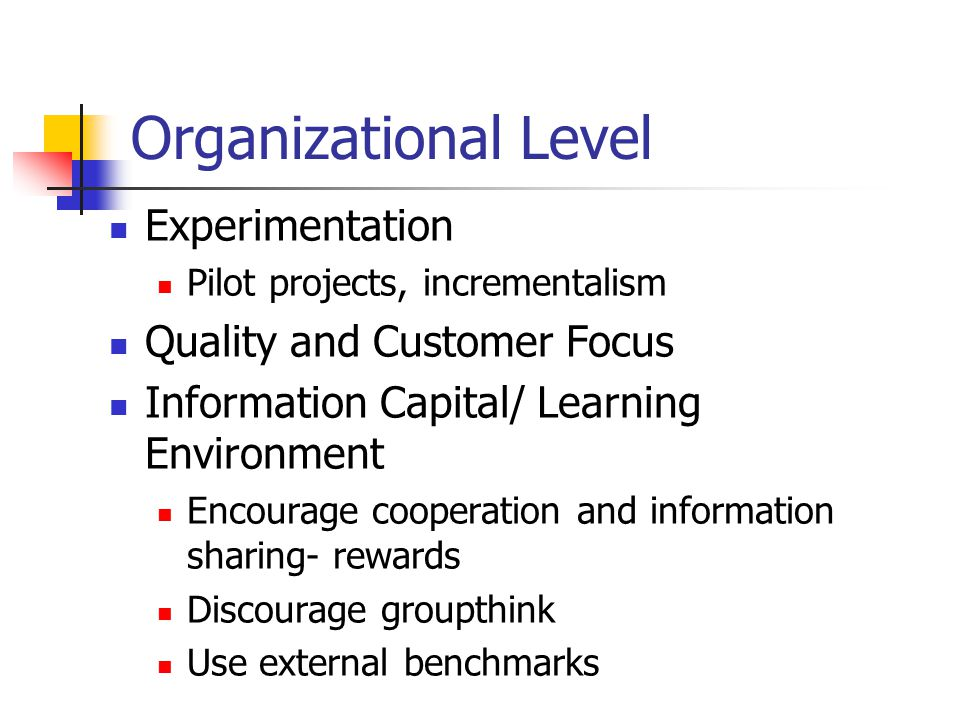 Organizational Level Experimentation Pilot projects, incrementalism Quality and Customer Focus Information Capital/ Learning Environment Encourage cooperation and information sharing- rewards Discourage groupthink Use external benchmarks