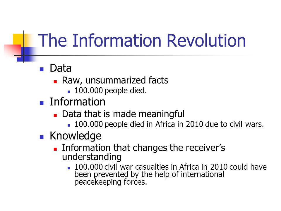 The Information Revolution Data Raw, unsummarized facts 100.000 people died.