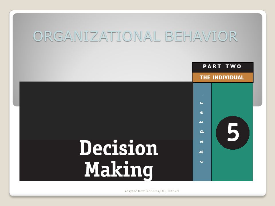 adapted from Robbins, OB, 10th ed. ORGANIZATIONAL BEHAVIOR