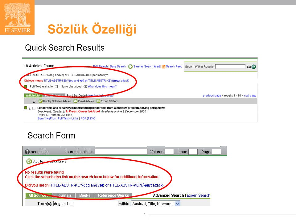 7 Sözlük Özelliği Quick Search Results Search Form 18 Articles Found