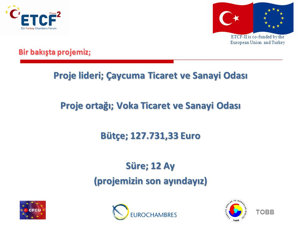 ETCF-II is co-funded by the European Union and Turkey TOBB Bir bakışta projemiz; Proje lideri; Çaycuma Ticaret ve Sanayi Odası Proje ortağı; Voka Ticaret ve Sanayi Odası Bütçe; ,33 Euro Süre; 12 Ay (projemizin son ayındayız)
