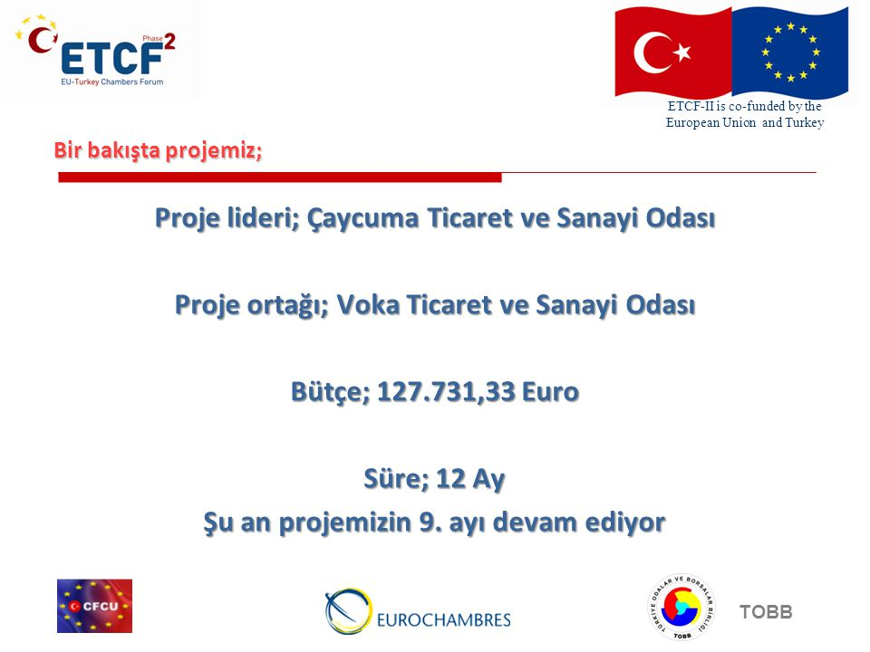 ETCF-II is co-funded by the European Union and Turkey TOBB Bir bakışta projemiz; Proje lideri; Çaycuma Ticaret ve Sanayi Odası Proje ortağı; Voka Ticaret ve Sanayi Odası Bütçe; ,33 Euro Süre; 12 Ay Şu an projemizin 9.
