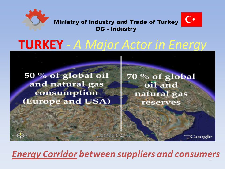9 Ministry of Industry and Trade of Turkey DG - Industry TURKEY - A Major Actor in Energy Energy Corridor between suppliers and consumers