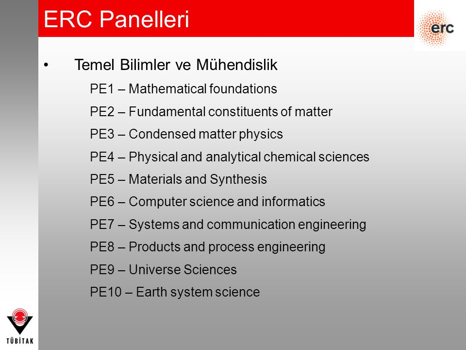ERC Panelleri Temel Bilimler ve Mühendislik PE1 – Mathematical foundations PE2 – Fundamental constituents of matter PE3 – Condensed matter physics PE4 – Physical and analytical chemical sciences PE5 – Materials and Synthesis PE6 – Computer science and informatics PE7 – Systems and communication engineering PE8 – Products and process engineering PE9 – Universe Sciences PE10 – Earth system science