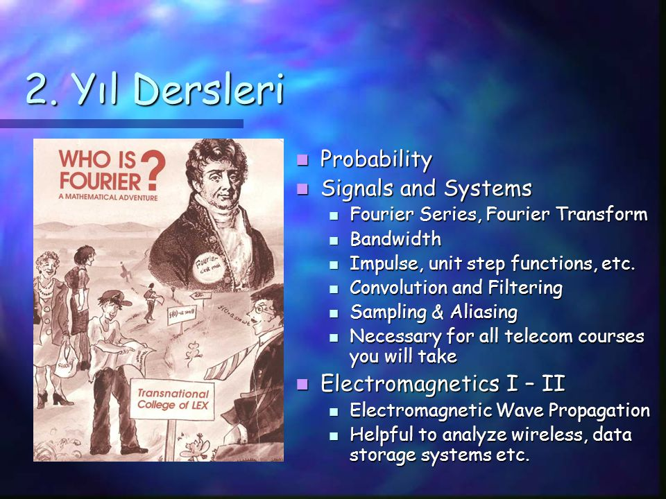 TE Programı Dersleri ENS 211: Signals ENS 201/2: Electromagnetic Theory I & II Math 203: Probability TE 302: Discerete Time Signals and Systems TE 303: Introduction to Communication Systems TE 304: Digital Communications TE 404: Multimedia Communications TE 405: Digital Speech and Audio Processing TE 407: Image Processing TE 409: Signal Processing Design & Implementation TE 410: Information Theory TE 412: Wireless Communications Communication Hardware - EL Communications & Signal Processing - CS Networking - CS TRACKS