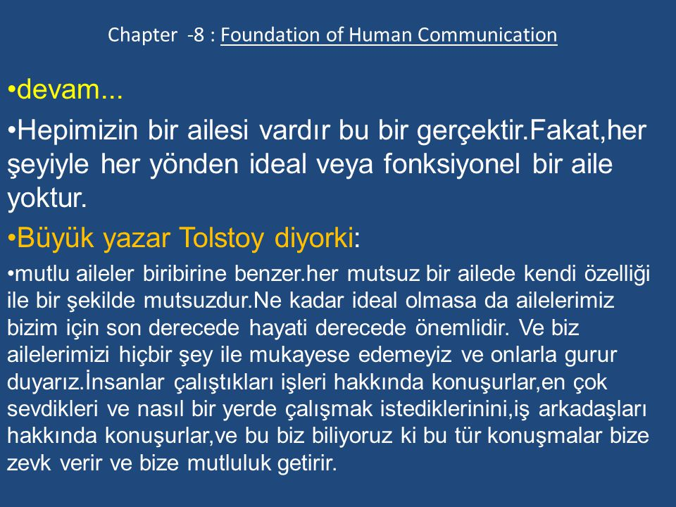 Chapter -8 : Foundation of Human Communication devam...